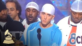 Eminem accepting the GRAMMY for Best Rap Album at the 45th GRAMMY Awards