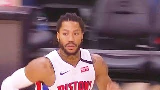 Derrick Rose Amazing Highlights & Crazy Alley-Oop vs Hawks! Pistons vs Hawks