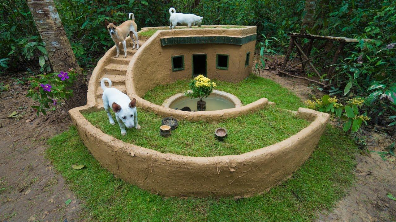 Build Around Mud House with Mini Pool for Dogs---Ruraldogs