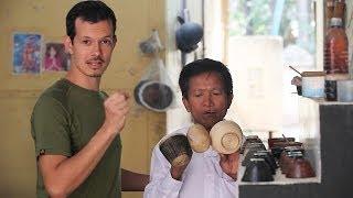 Burmese lacquerware production at Golden Cuckoo - Bagan, Myanmar
