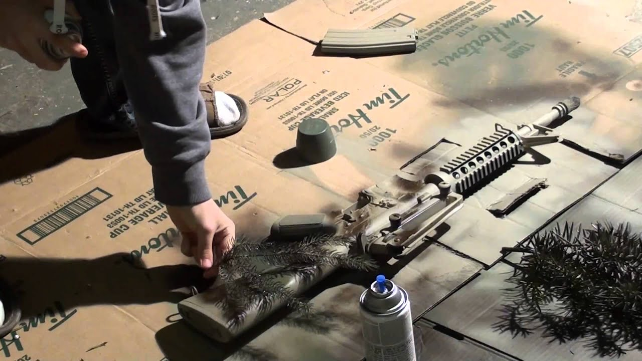 How to paint your gun Desert Camouflage - YouTube