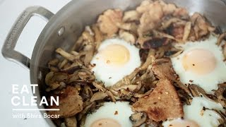 Sauteed Mushrooms With Toasted Flatbread And Baked Eggs - Eat Clean With Shira Bocar