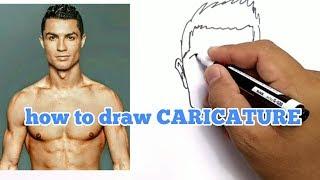 WOW, CARA MENGGAMBAR KARIKATUR CRISTIANO RONALDO CR7 / HOW TO DRAW CARICATURE