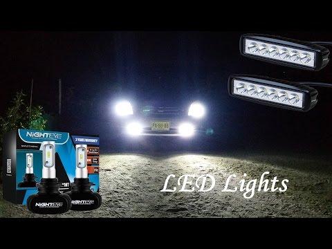 NIGHTEYE Auto LED 9006 Headlight Bulbs & Nilight 2pcs 18w spot