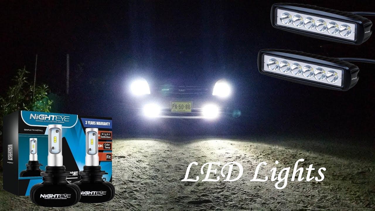 NIGHTEYE Auto LED 9006 Headlight Bulbs Nilight 2pcs 18w Spot Ledbar Slideshow Review With Driving