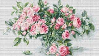 """Вышивка крестиком. Лука-С    BL22866 """"Букет чайных роз  """".Обзор набора"""