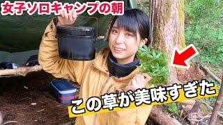 【女子ソロキャン③】朝食はその辺で草とって食べます【ブッシュクラフトキャンプ最終回】