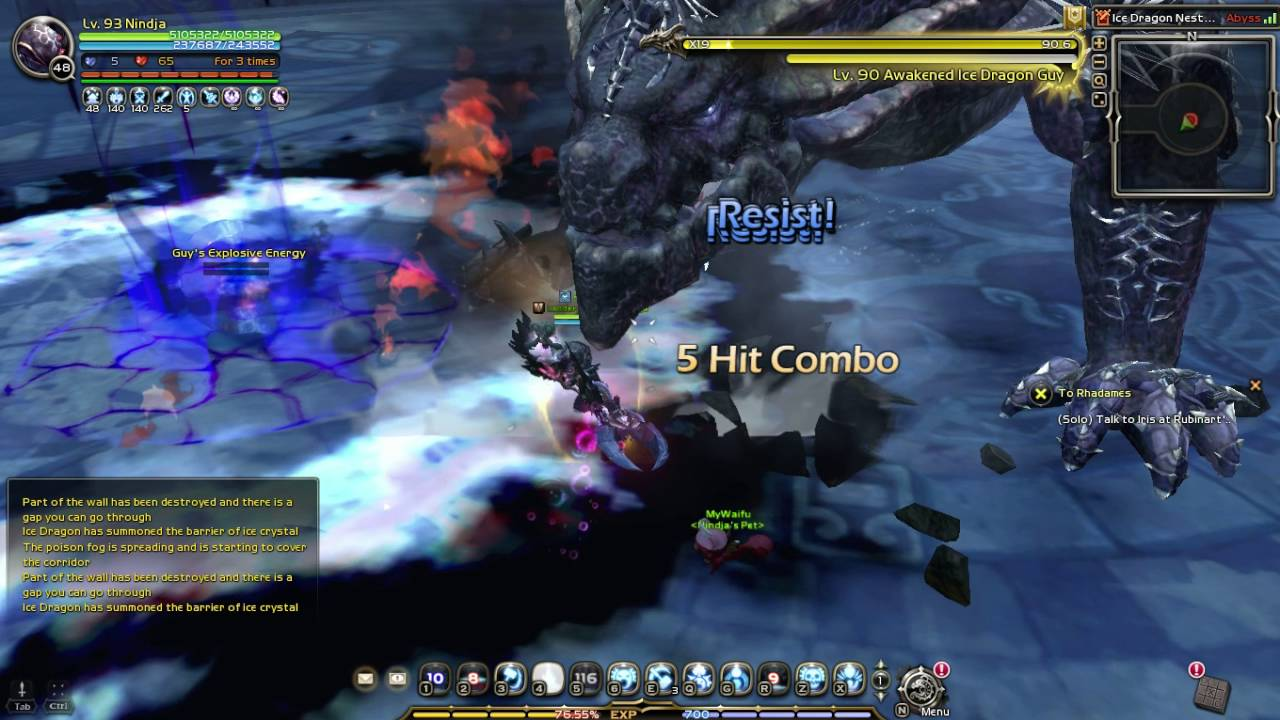 dragon nest lv93 destroyer solo ice dragon hardcore 4man