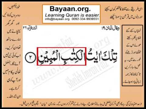 Quran in urdu Surrah 026 Ayat 002 Learn Quran translation in Urdu Easy Quran Learning