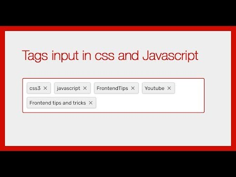 Tags Input In CSS And Javascript  (No Framework)