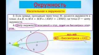 ГИА-2014 Видео-справочник по геометрии. Окружность. Свойства касательной к окружности.