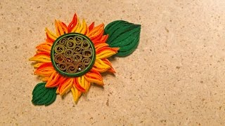How To Make Yellow Sun Flower Design Using Paper Art Quilling