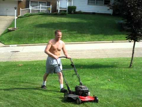 hot guy mowing lawn