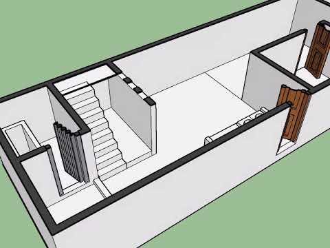 desain rumah sempit memanjang 4x22 meter menggunakan