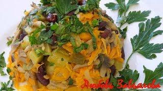 Салат с фасолью и грибами -постный/Salad with beans and mushrooms - lean