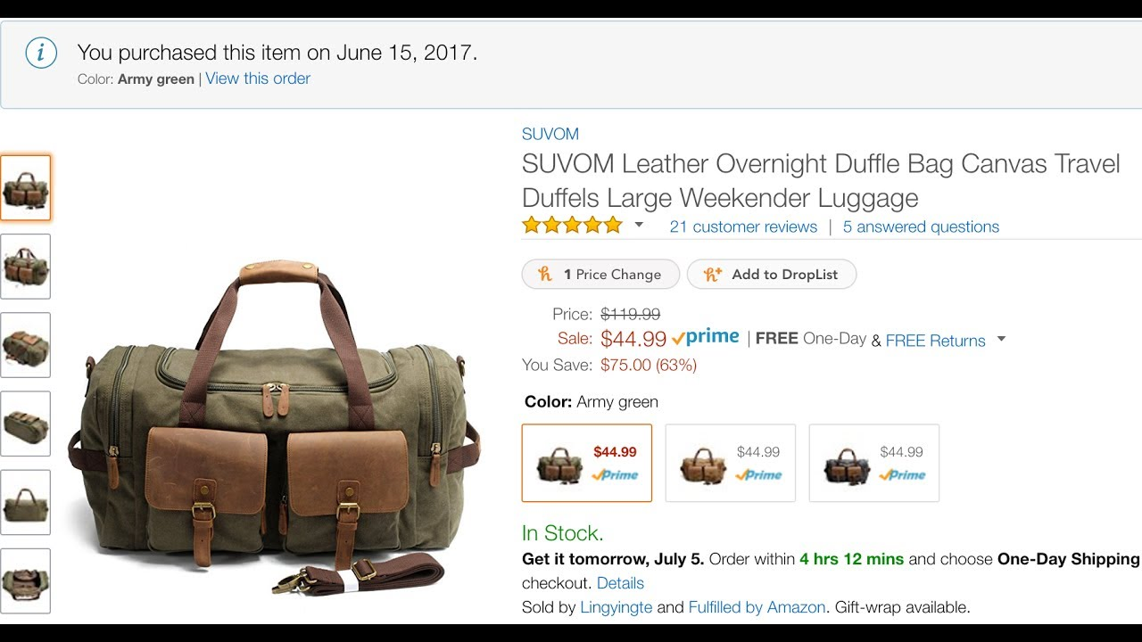 1e1ecc4db56c PRODUCT REVIEW: Leather and Canvas Duffle Bag by Suvom