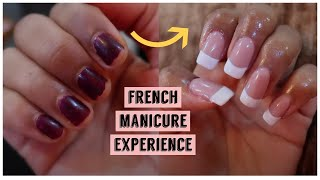 first time getting FRENCH Gel MANICURE + FAKE NAILS vlog | My Experience + Tips | Does it HURT?