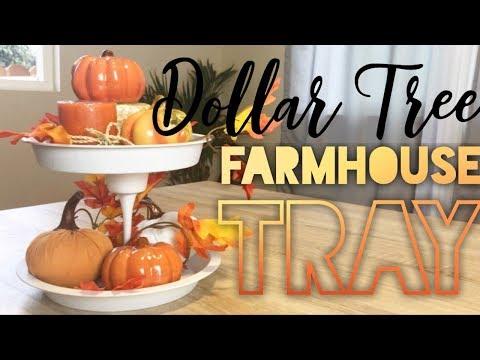 DOLLAR TREE FARMHOUSE DIY || TWO TIERED TRAY