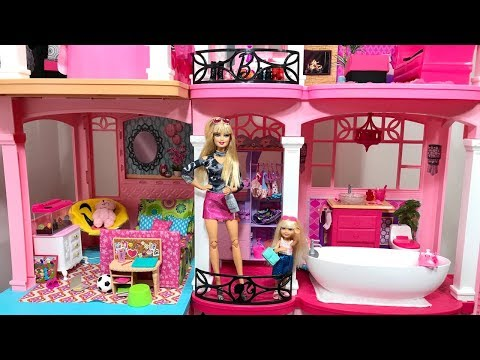 Barbie Dream House! PINK! Barbie and Chelsea!!