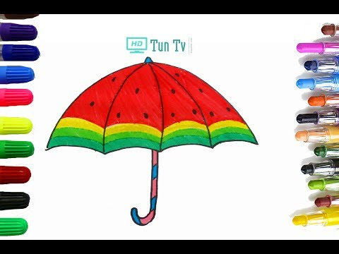 Watermelon Umbrella Coloring Page | Learn Colors For Girls and Kids