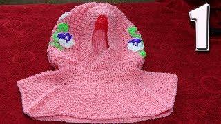 Шапка - шлем на девочку. Вязание спицами