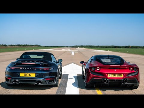 DRAG RACE!! FERRARI F8 Vs PORSCHE 992 TURBO S CABRIOLET