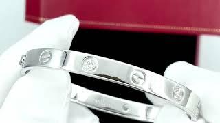 Vidéo: Bracelet Cartier Love 4 Diamants de 2008 Or gris 18K . Taille 17 . Full set