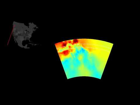 Slices through seismic model of North America