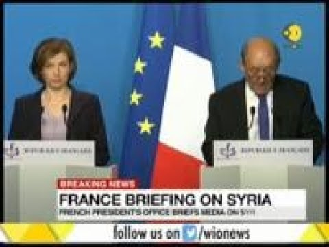 French President's office briefs media on Syria strike