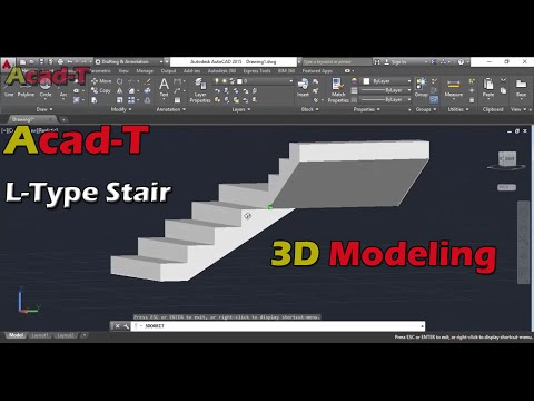 How To Make L-type Stairs in autocad in AutoCAD 2015 - L-Type Stairs in AutoCAD