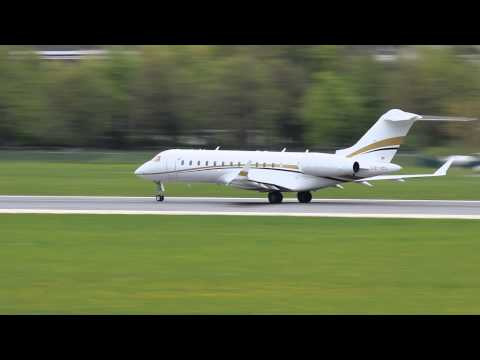 Tyrolean Jet Services Bombardier Global Express [OE-IEL] take off Innsbruck