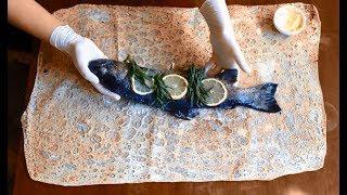 Рыба форель запечённая в лаваше в духовке с тархуном, лимоном и кусочком сливочного масла