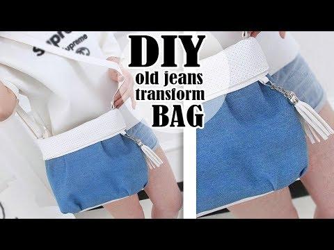 DIY WONDERFUL JEANS BAG TUTORIAL // Cute Denim Tote Purse Bag out Of Old Jeans Pants