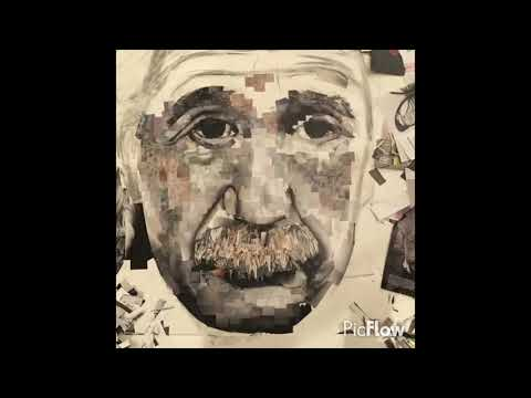 Albert Einstein Collage made from recycled magazines