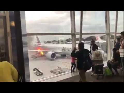 Cargo hold of American Airlines Boeing 777 caught fire at Hong Kong Airport