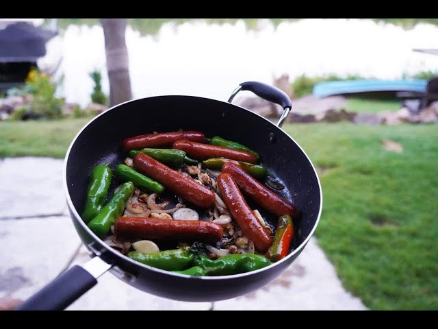 Sausages With Shishito Peppers | CaribbeanPot.com