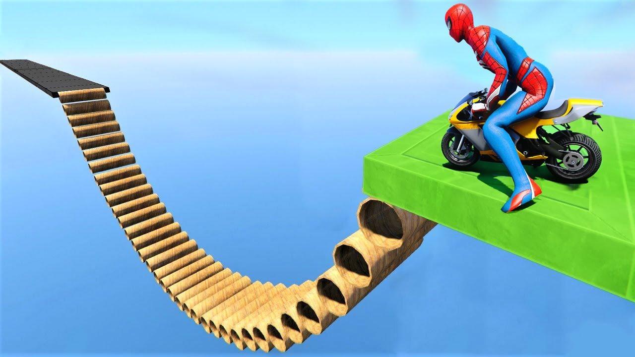 SpiderMan Tube Slide Mini Bike Parkour Challenge - GTA 5 MODS