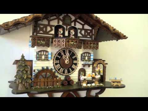 Black Forest Cuckoo Clock 8 Day Carved Chalet Musical, Beer Drinkers & Maiden, 14