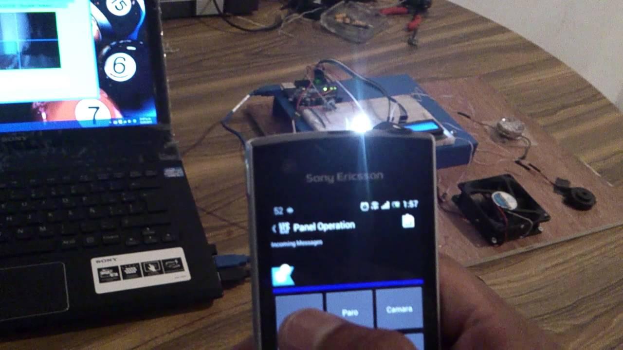 Control de alarma y camara web a distancia con arduino