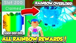I BOUGHT ALL 200 RAINBOW REWARD SLOTS AND GOT THE TIER 200 PET IN BUBBLE GUM SIMULATOR!! (Roblox)