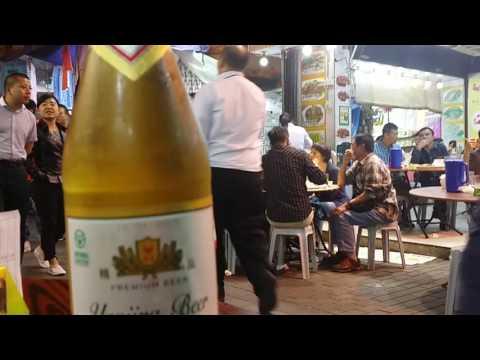 Hong Kong,China night market Temple Street eating out