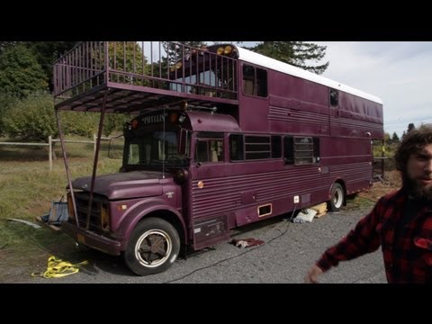 Tour of Double Decker School Bus Conversion Tiny House ep 02