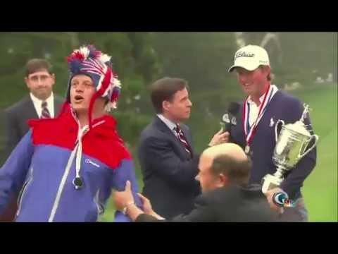 Guy Pretending To Be A Bird Interrupts A Golf Interview!