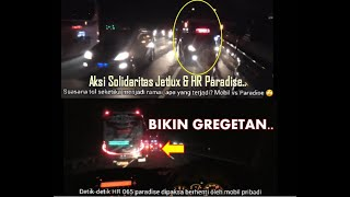 Pak Bero di paksa berhenti !! Bus HR Paradise vs Mobil Pribadi..