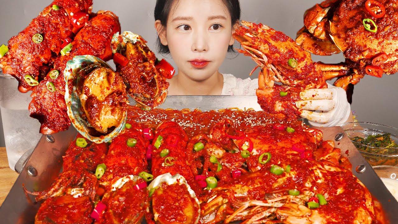 각종 해물 넣은 매운 해물찜 🦀🦐 (게, 랍스타, 전복, 킹타이거새우, 낙지, 오징어) SPICY SEAFOOD BOIL [eating show]mukbang korean food