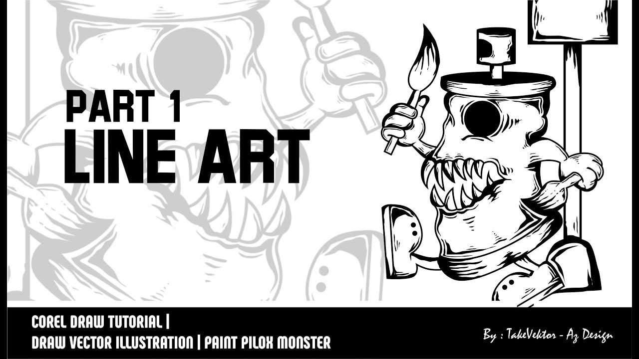 Corel Draw Tutorial Draw Vector Illustration Paint Pilox Monster By Takevektor
