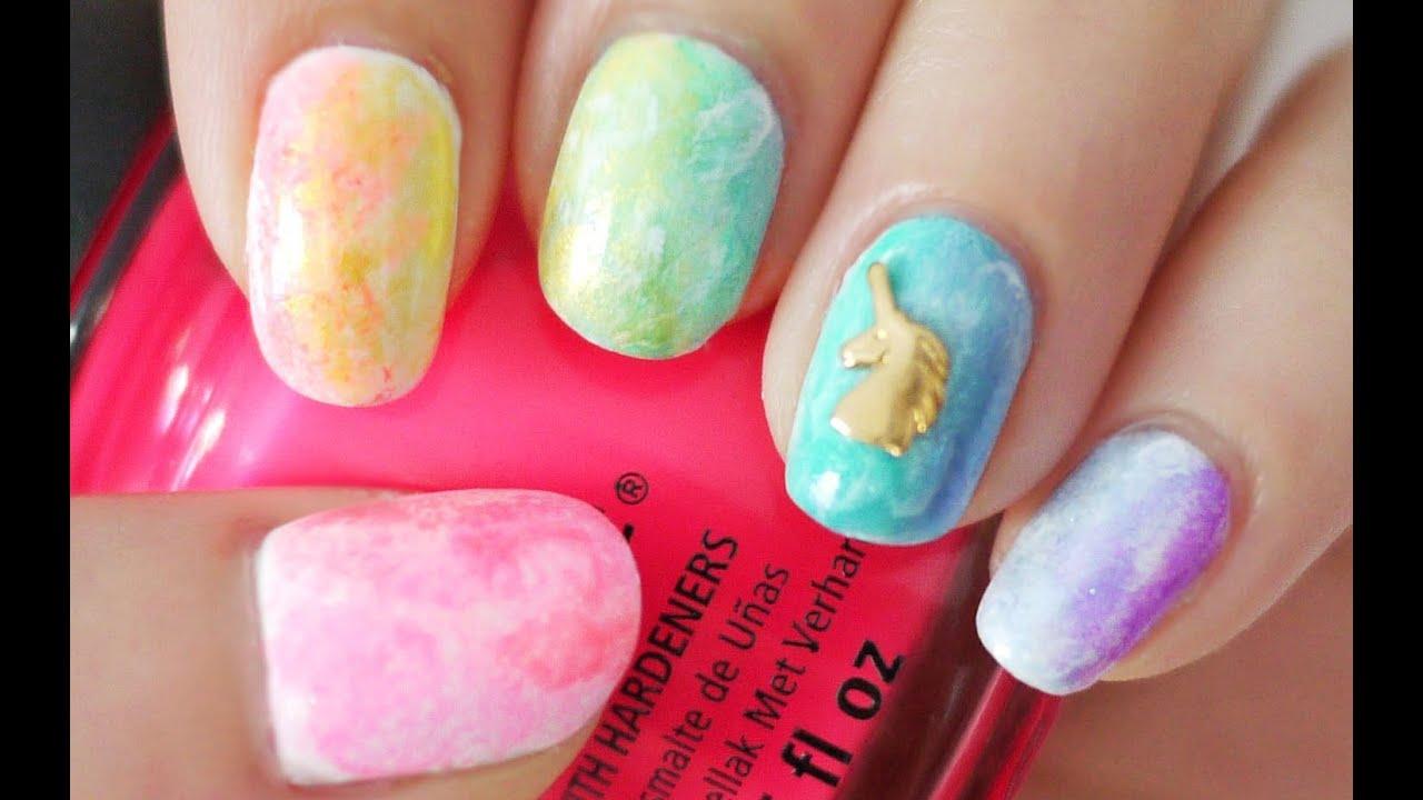 Rainbow Watercolor Nails Using A Sponge Youtube