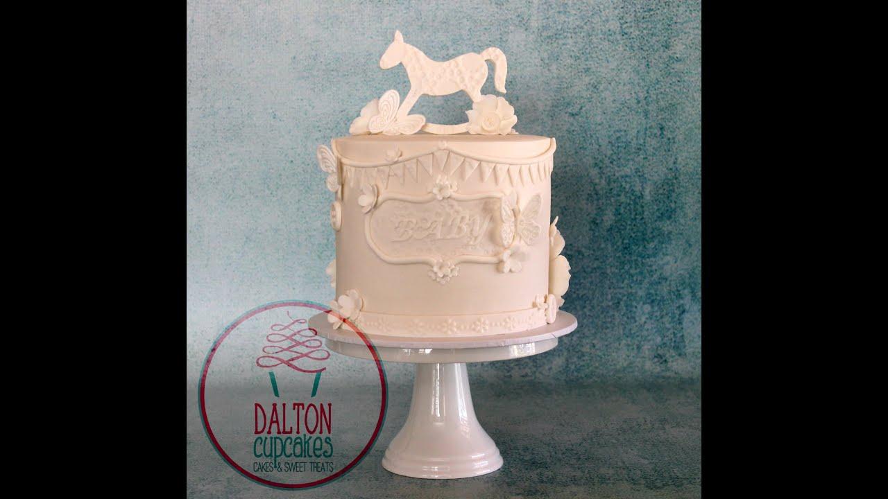 Vintage Style White Baby Shower Cake