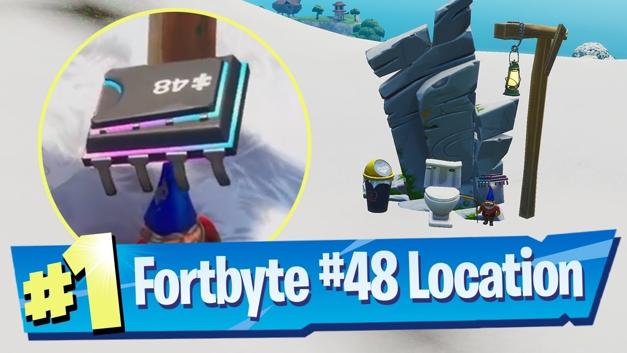 'Fortnite' Fortbyte #48 Location - Accessible By Using Vox Pickaxe to Smash Gnome Beside Mountain Top Throne