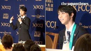 Yuzuru Hanyu speaks at FCCJ in Tokyo, Japan after the Olympics